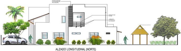 Casa G+A: Alzado longitudinal (Norte) / G+A House: Lengthwise facade (North)