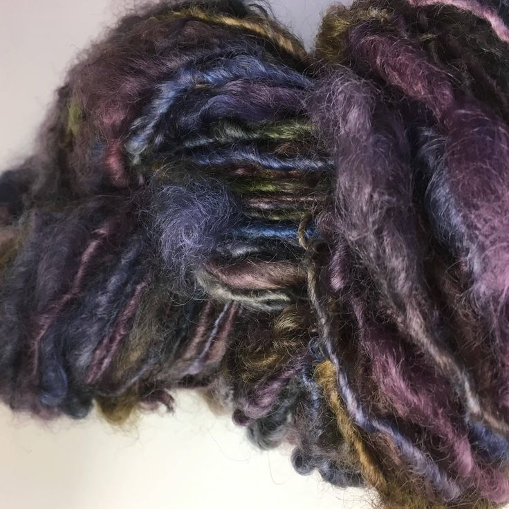 Purple, olive , blue English Leicester  Handspun Chunky Yarn by hawthornecottage on Etsy