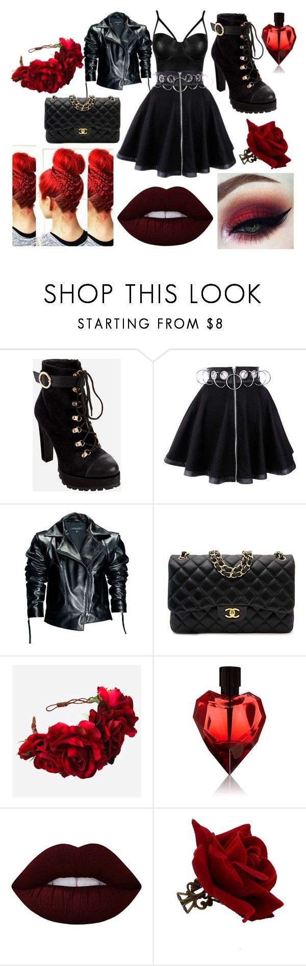 """SuperVillain Allison"" by vikaoks on Polyvore featuring Mode, Ashley Stewart, Leka, Chanel, Rock 'N Rose und Lime Crime"