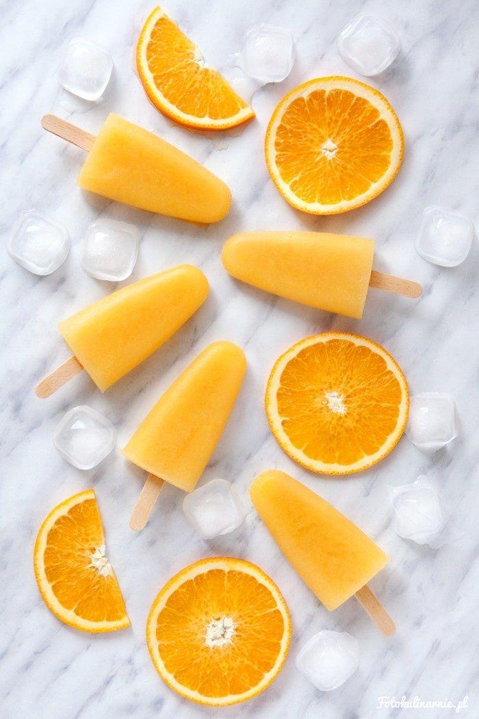 Orange Sorbet Popsicles - Frozen Orange Juice.