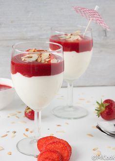 Witte chocolademousse met rood fruit