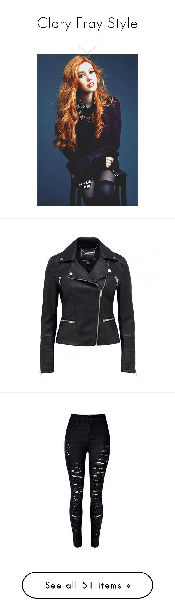 """""""Clary Fray Style"""" by souz-zverey ❤ liked on Polyvore featuring Inspired, TV, claryfray, shadowhunters, outerwear, jackets, imitation leather jacket, fake leather jacket, leather look jackets and rider jacket"""