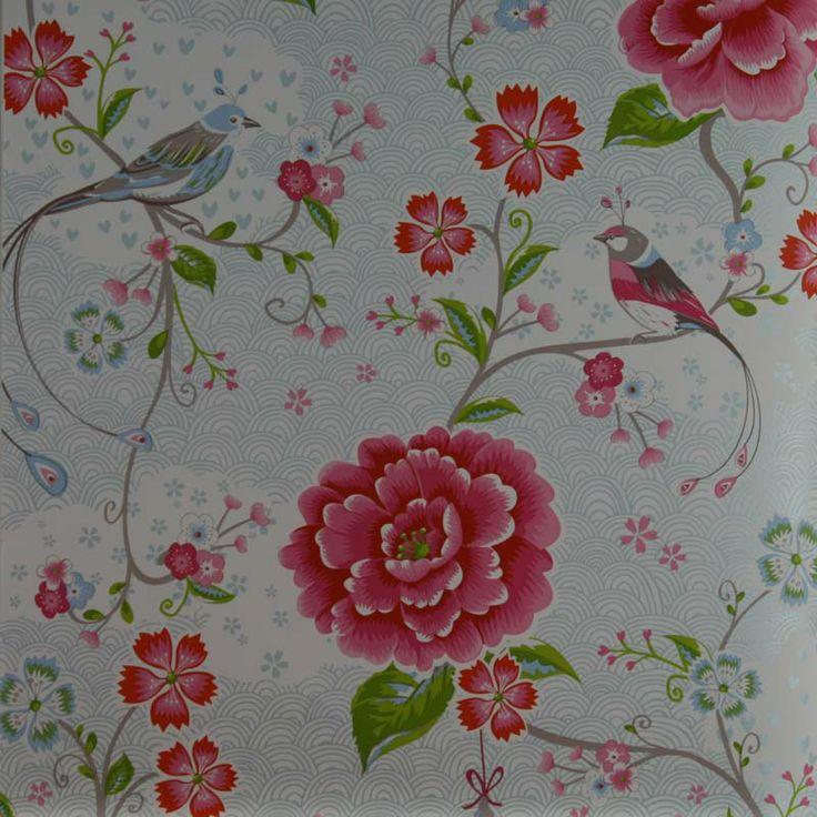 Flott tapet med både fugler og blomster