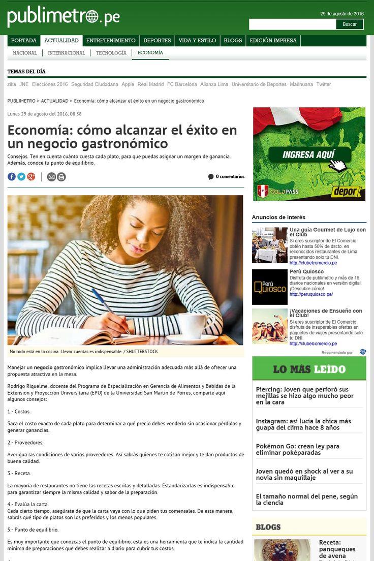Economía: cómo alcanzar el éxito en un negocio gastronómico. Diario Publimetro - 29/08/2016