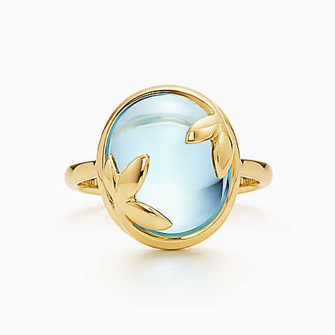 Paloma Picasso® Olive Leaf ring in 18k gold with a blue topaz.