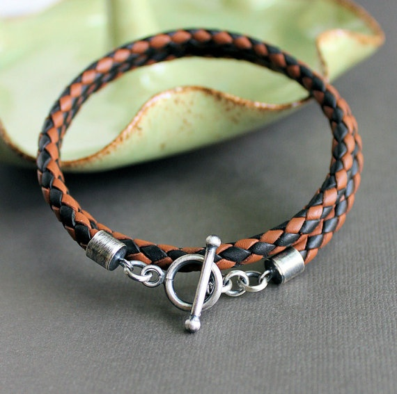 Mens Leather Wrap Bracelet Black & Tan Braid