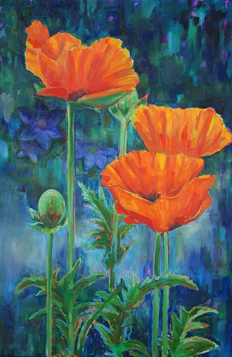 Here is one of my fun floral paintings.