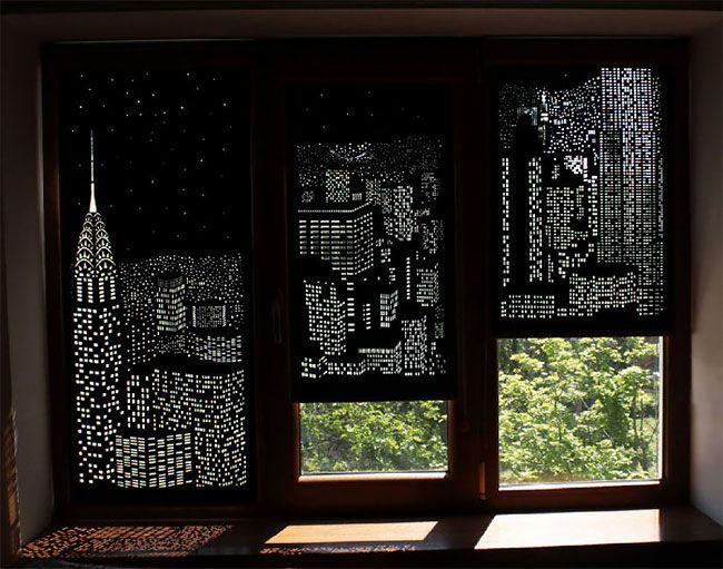 Cortina criativa transforma sua janela em paisagem incrível de uma cidade a noite. – Criatives | Criatividade com um mix de entretenimento.
