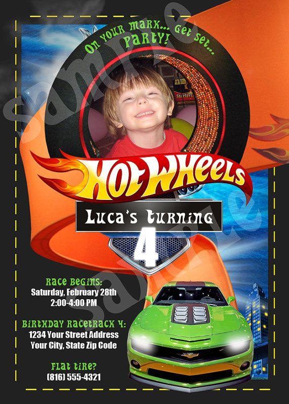 Best Party Hot Wheels Liams Th Birthday Images On - Homemade hot wheels birthday invitations