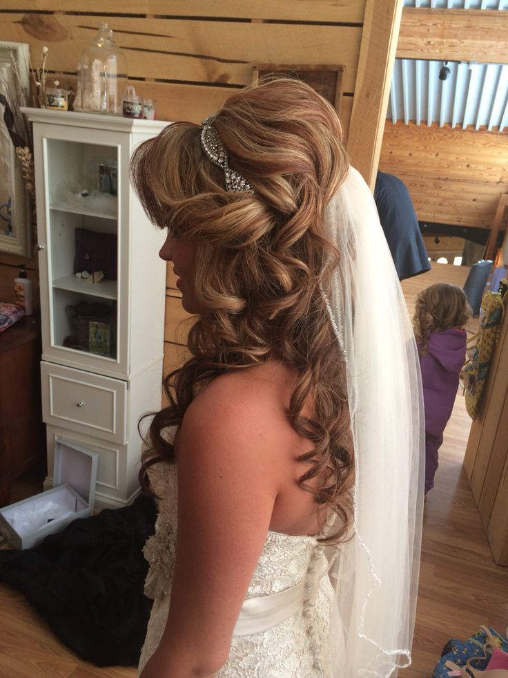 This was a beautiful style for a barn wedding! Long wavy curly hair accented with a headband and a few pieces tucked away around her face. Lots of volume and her veil completed the look! Hair by Pink the Beauty Boutique 864-592-2554