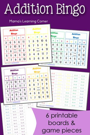 Free Printable Addition Bingo - includes 6 game boards and playing pieces