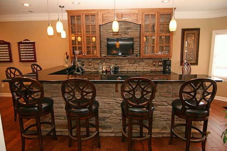 stacked stone bar & backsplashe smaller stone | around the