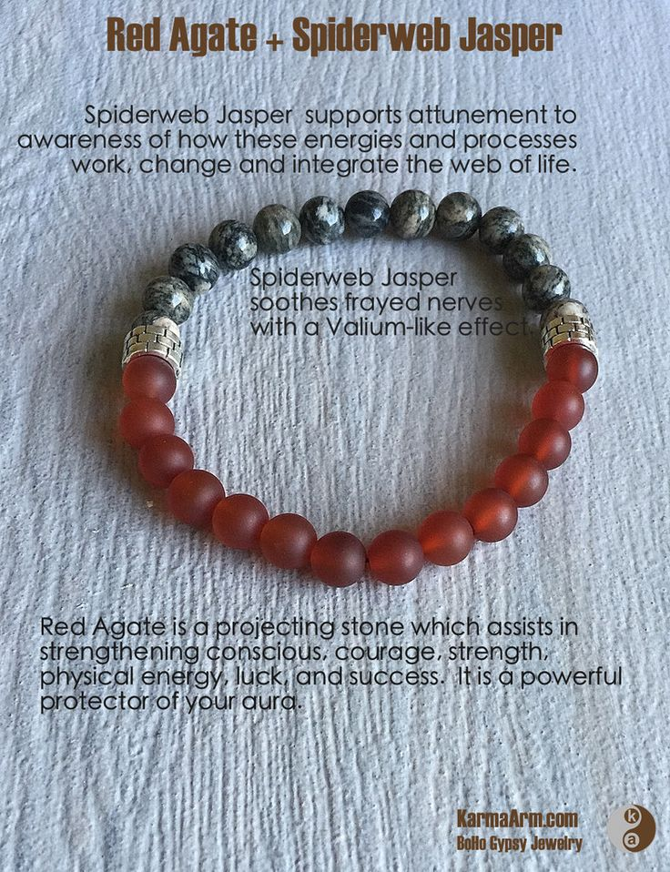 AFFIRMATION:  I am deserving and I manifest all that is good.  KEEP CALM: Spiderweb Jasper + Red Agate Yoga Mala Bracelet