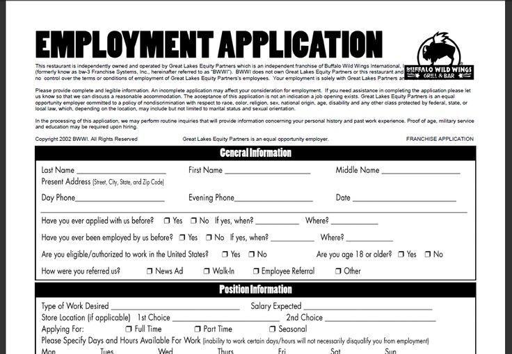 Buffalo Wild Wings Online Application The Job