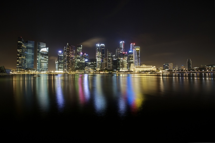 View from Singapore Marina Sands Bay. HDR.