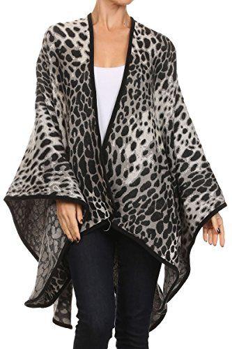 Gorgeous Gray, Black Snow Leopard Ladies Poncho