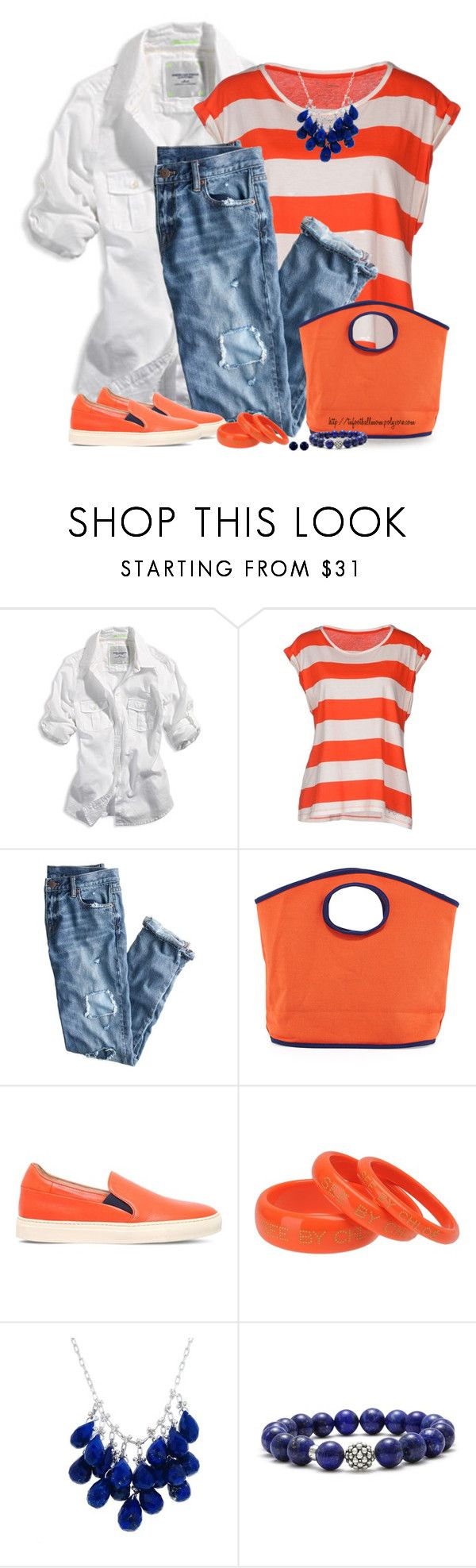 """Orange purse"" by tufootballmom ❤ liked on Polyvore featuring American Eagle Outfitters, Pepe Jeans London, J.Crew, Toss, Paul Smith, See by Chloé, Ten Thousand Things, Lagos and Reeds Jewelers"