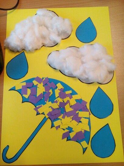 Knutsel met kleuters- paraplu met wolken en regen