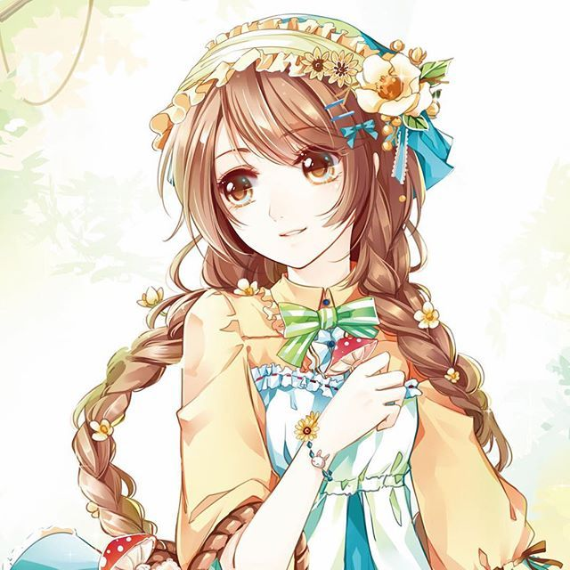 Cute girl with flowers ♥♥♥♥♥