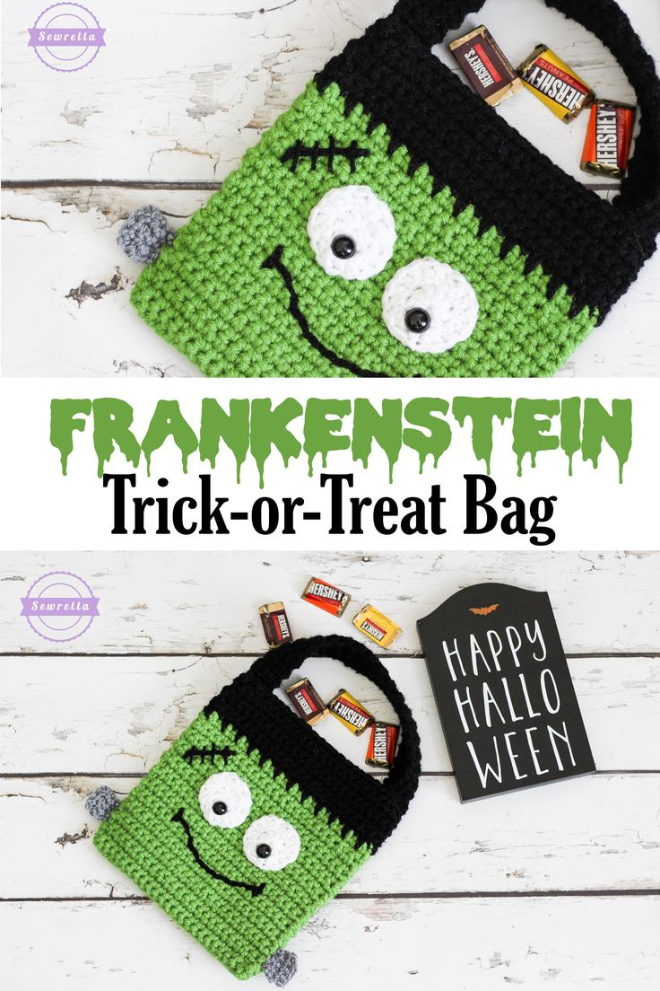 Frankenstein Monster Trick or Treat Halloween Bag | Free Crochet Pattern from Sewrella