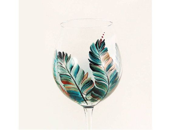Hand-Painted Wine Glasses - Southwest Style Feathers Turquoise Copper Silver Set of 4 - Large Red Wine Glass Custom Hand Painted Glassware