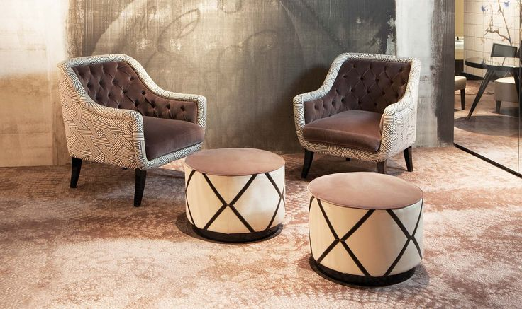 Beatrice, #capitonne small armchair - double fabric in this wonderful setting @ IMM Cologne, last January. Wall Paper by Wall And Decò #luxuryexperience #domedizioni design by #domenicomula Dom Edizioni