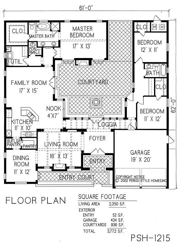1 story house plan with courtyard center living room converts to library office enlarge the nook for dining so dining room makes exercise craft room