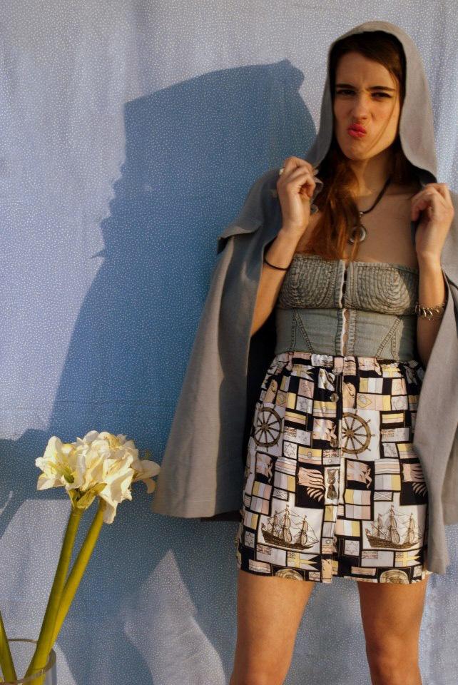 denim top, futuristic coat & and lav unsued skirt