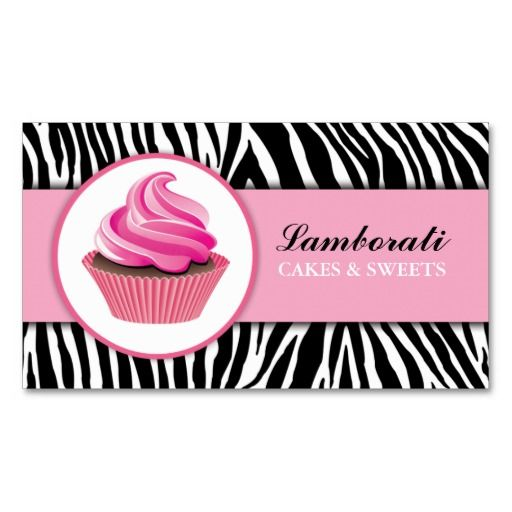 367 best bakery business cards images on pinterest bakery business cupcake bakery zebra print pink elegant modern business card reheart Images