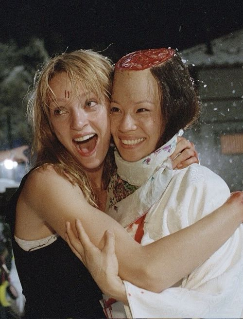 Uma & Lucy at Set of Kill Bill Vol. 1
