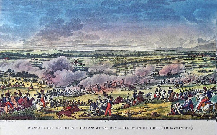 """""""Battle of Mont Saint-Jean or the Battle of Waterloo"""" colored litho by Antoine Charles Horace Vernet (called Carle Vernet)(1758 - 1836) and Jacques François Swebach (1769-1823)"""