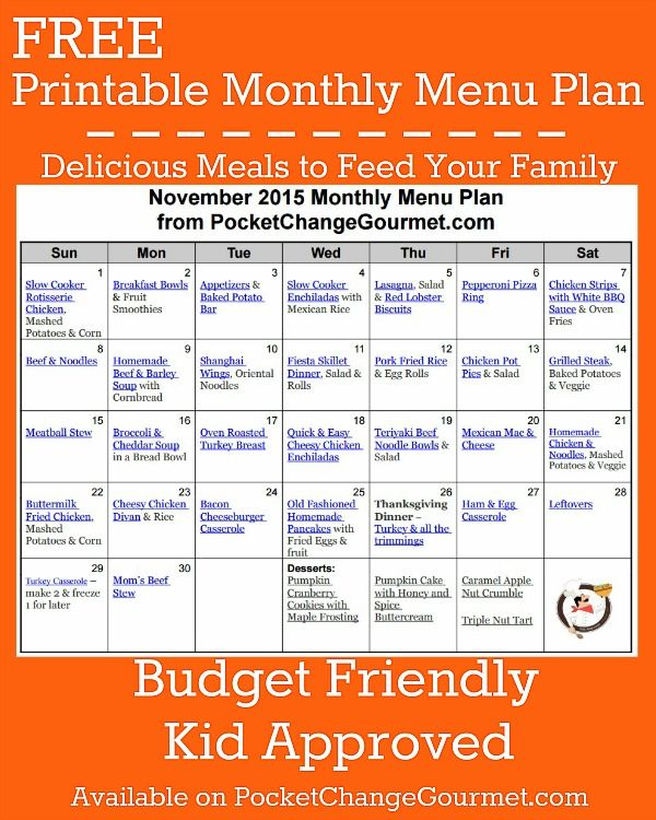 Delicious meals to feed your family in the Printable November Monthly Meal Plan! Budget friendly menu plan - Kid approved! Print out your FREE copy today!