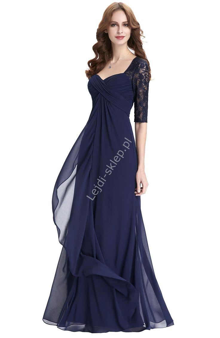 Granatowa długa suknia | suknia dla mamy Panny Młodej, suknia z rękawkami
