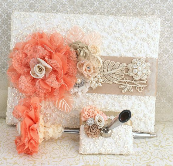 Wedding Guest Book and Pen in Ivory Peach Coral and by SolBijou, $130.00