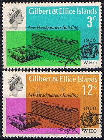 Gilbert and Ellice Islands 1966 World Health Organisation Set Fine Mint SG 127 8 Scott 104 5 Other Gilber6 Ellice Islands Stamps HERE