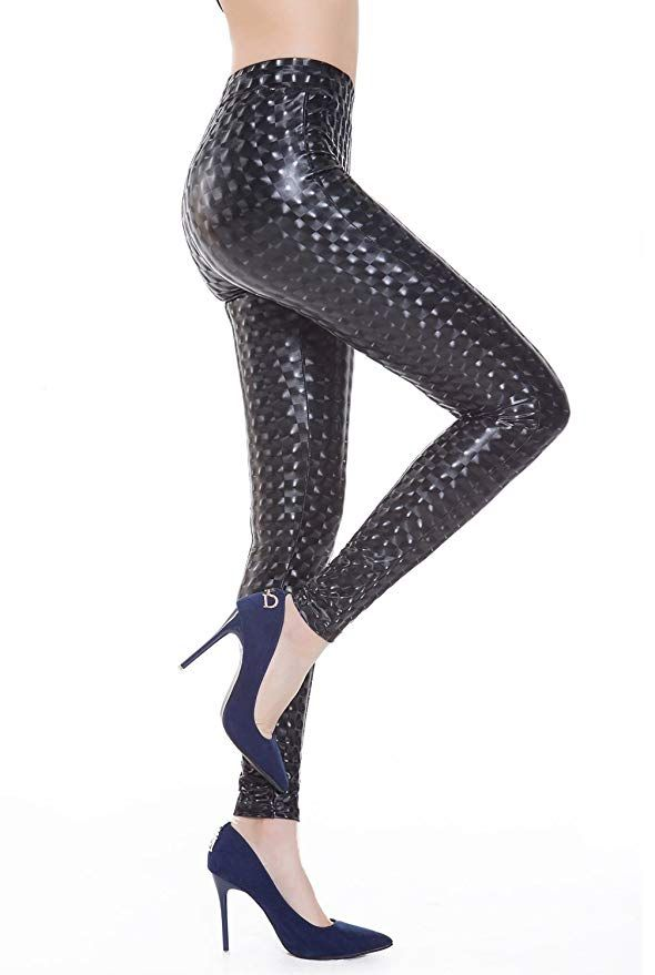 32e7a061349 Everbellus Womens Sexy Faux Leather Leggings Skinny Black Leather Pants  Small