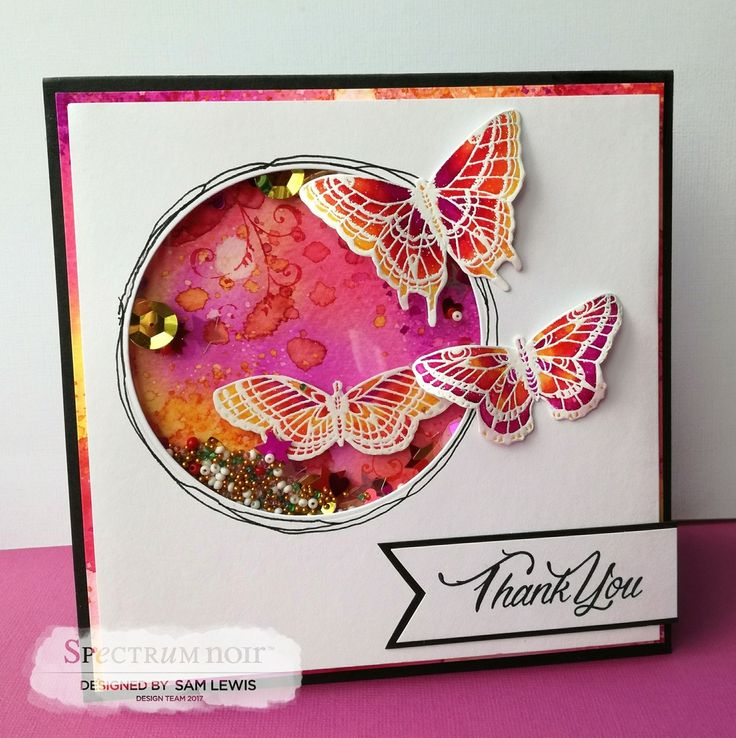 Shaker Card by Sam Lewis AKA The Crippled Crafter. Features Cherry Green stamps.  http://www.thecrippledcrafter.co.uk/2017/06/shaker-card-butterflies-spectrum-noir.html  #thecrippledcrafter #spectrumnoir #spectrumaqua #cherrygreen #crafterscompanion #shakercard #butterfly