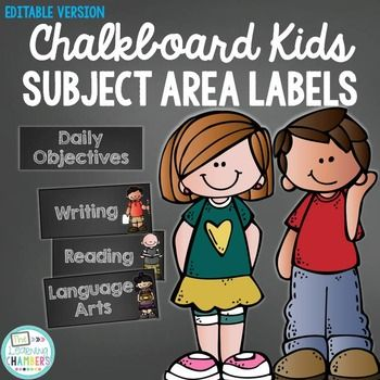 Chalkboard Daily Objective and Subject Area Labels {Editab