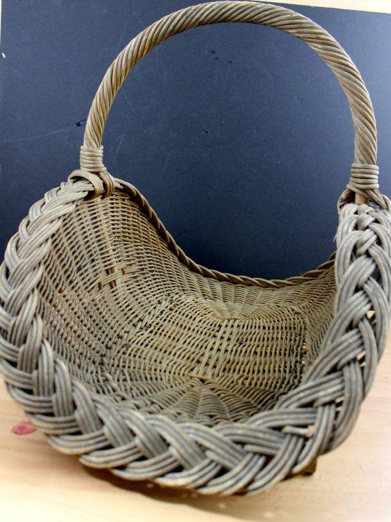 Antique Wide Weaved Wicker Hearth Basket Primitive Wicker Basket