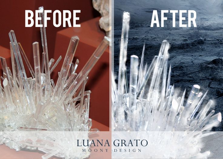 how to turn minerals into ice with Adobe Photoshop :)  #moonydesign #luanagrato #digitalart #phtomanipulation #photoshop #ice #minerals #before&after