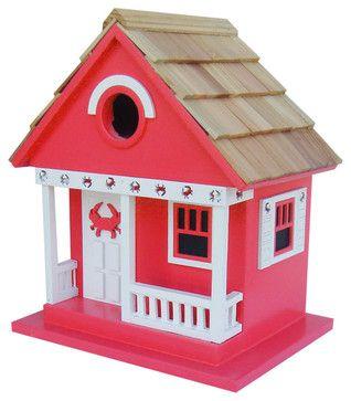Crab Cottage Birdhouse, Red beach-style-birdhouses