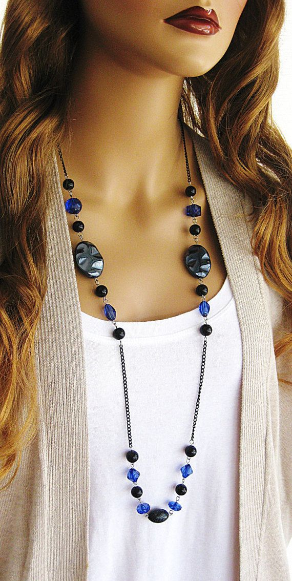 Long Black Beaded Necklace, Long Blue Beaded Necklace, Beaded Necklace, Black Necklace, Long Beaded Necklace, Black and Blue Necklace, N-681