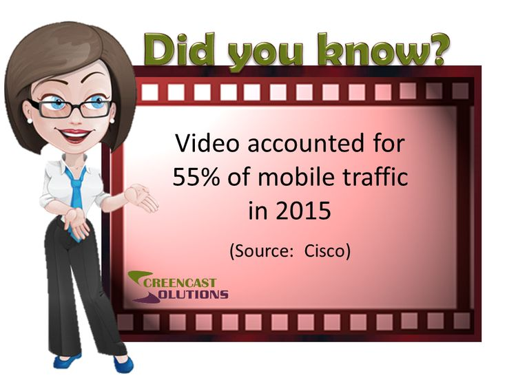 Video accounted for 55% of mobile traffic in 2015 (Cisco)