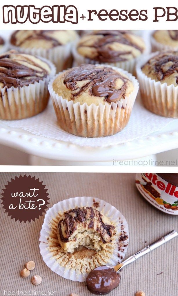 Banana nutella muffins w/ reeses peanut butter chips -from iheartnaptime.net. YUM! Might