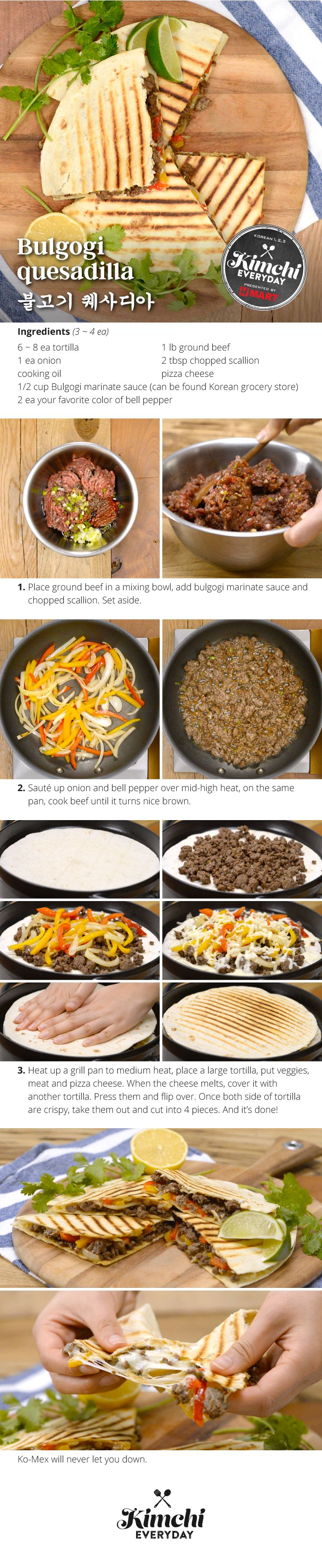 105 best kimchi everyday recipe images on pinterest hmart presents bugolgi quesadilla forumfinder Gallery