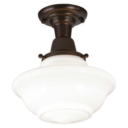 """Allen + Roth 10-1/2"""" Oil-Rubbed Bronze Frosted Glass Semi"""
