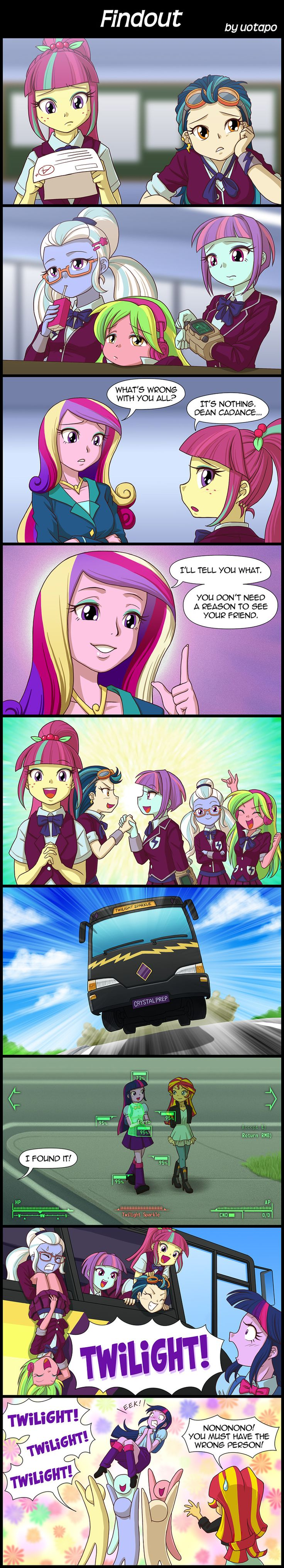 #1041169 - artist:uotapo, bus, comic, crystal prep academy, crystal prep academy uniform, dean cadance, dialogue, equestria girls, fallout, friendship games, indigo zap, lemon zest, mistaken identity, pipboy, princess cadance, princess twilight, safe, shadow five, sour sweet, speech bubble, spoiler:friendship games, sugarcoat, sunny flare, sunset shimmer, sweatdrop, test paper, twilight sparkle, uotapo is trying to murder us, v.a.t.s. - Derpibooru - My Little Pony: Friendship is Magic…