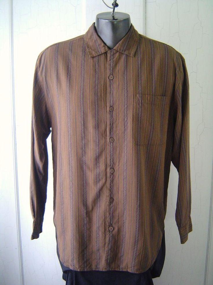 Tommy Bahama Shirt Men 39 S Sz M Brown Black Striped 100