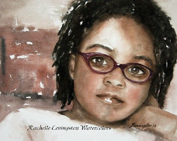 watercolor painting watercolor portrait painting portrait of girl African American Girl art print portait Print11x14 Girl in thought glasses...