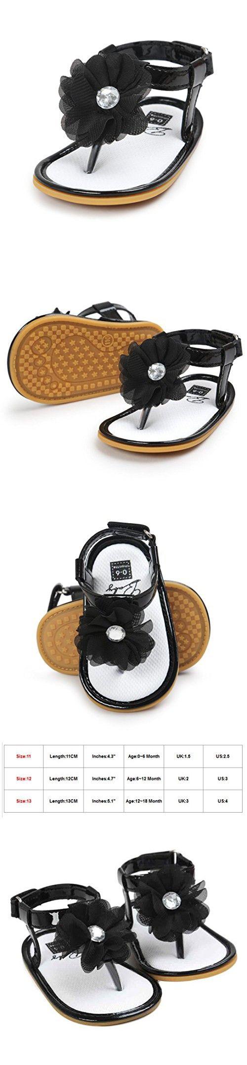 Black newborn sandals - Voberry Baby Infant Girls Flower Pearl Princess Sandals Soft Sole First Walker Crib Shoes 0